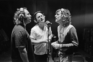 We Three Kings: Crosby, Stills, and Nash, doing what they do best, at Criteria Recording Studios in Miami, in 1977. Photo by and © Joel Bernstein.