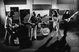 Smoke in the Studio (from left): Jon Lord, Roger Glover, Ian Paice, Ian Gillan, and Ritchie Blackmore lay down the DP groove.