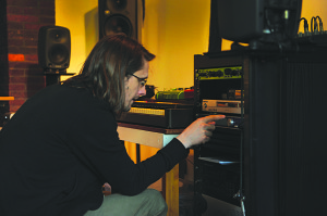 The Preacher The Teacher: Steven Wilson and his studio rack. Photo by Lasse Hoile.