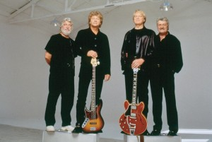 Keyholders to the Kingdom: Early-'90s Moodies, from left — Graeme Edge, John Lodge, Justin Hayward, and Ray Thomas. Photo courtesy Universal Music Group.